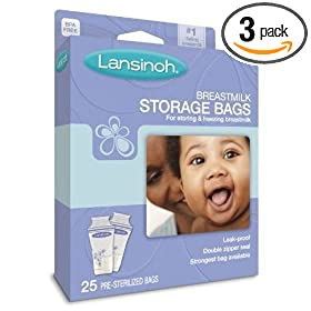 (放心)Lansinoh母乳储存袋20435 Breastmilk Storage Bags 25个3盒装 SS后$11.84