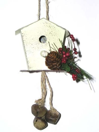 6″ White Vintage Tin Bird House Christmas Ornament