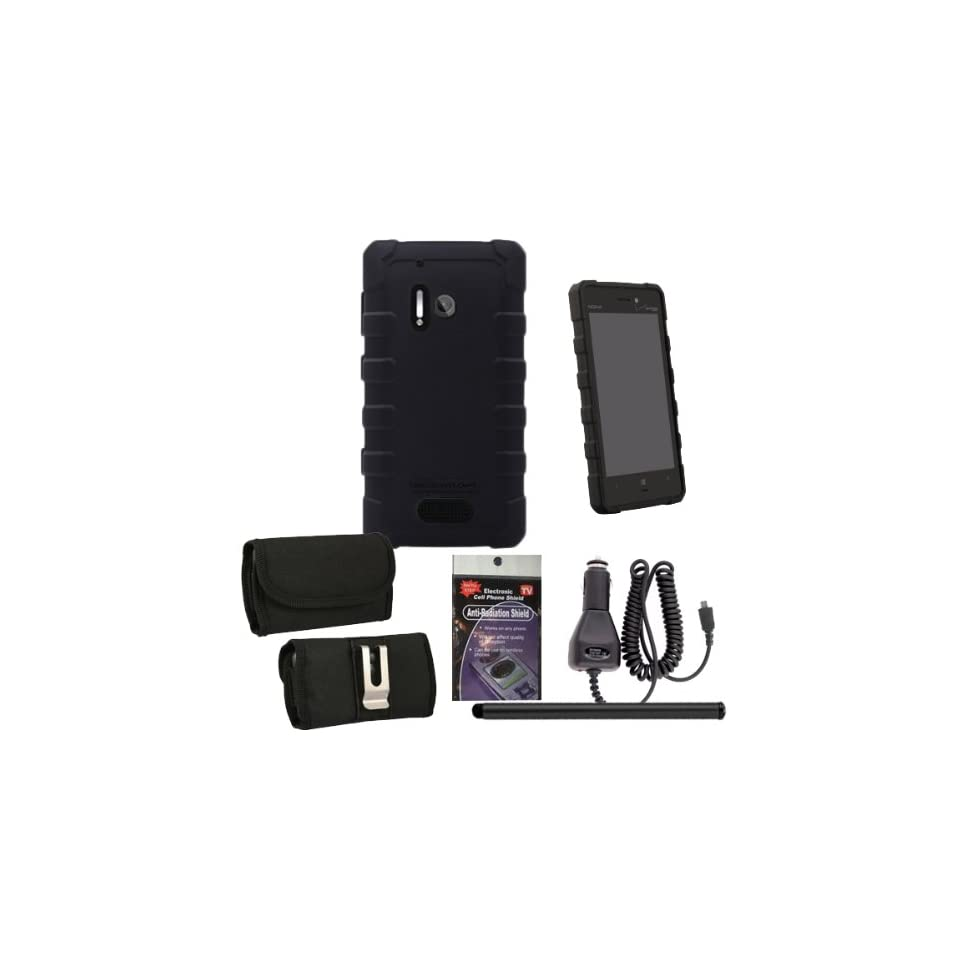 BodyGlove Dropsuit Case for Nokia Lumia 928. Comes with Car Charger, Stylus Pen and Horizontal Metal Clip Case that fits your phone with the Cover on it and Radiation Shield. Cell Phones & Accessories