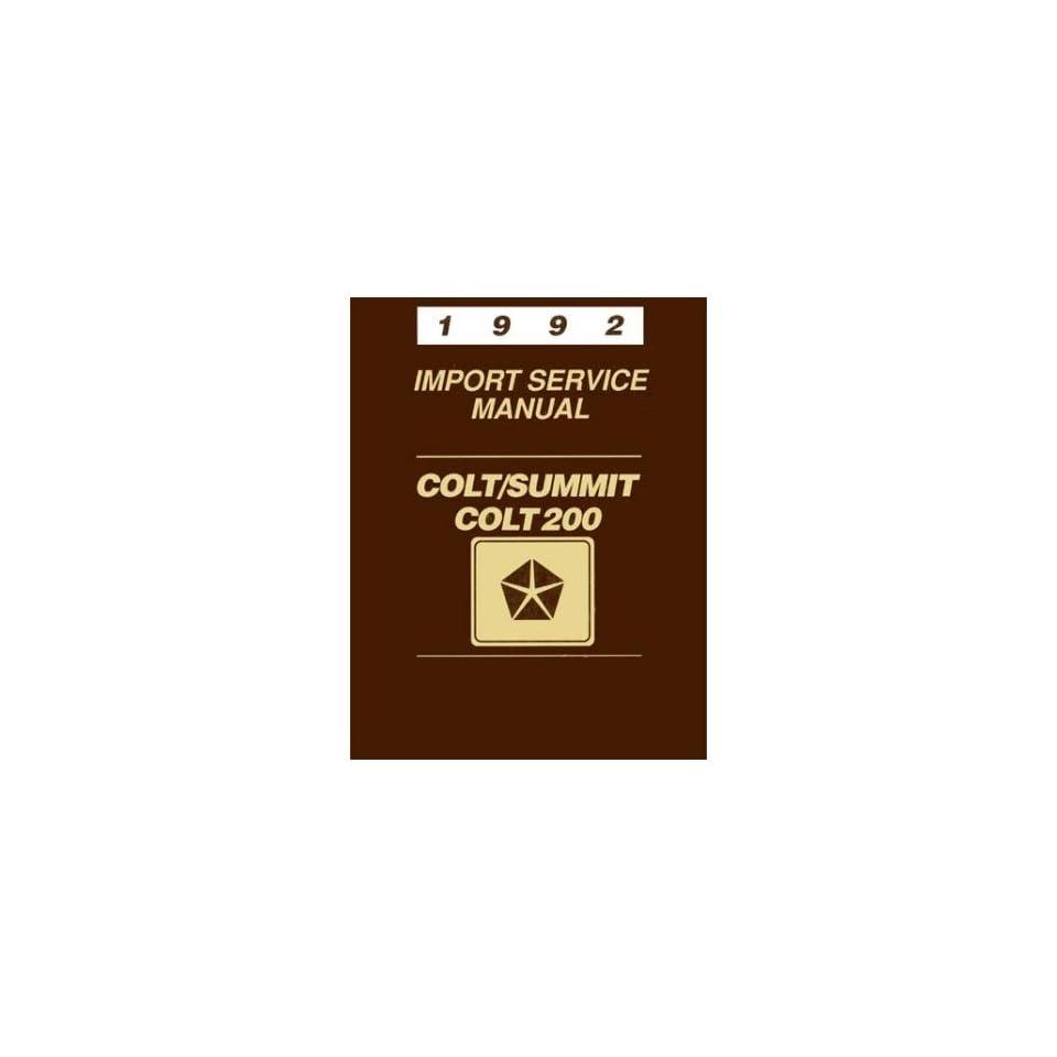 1992 Colt Summit Shop Service Repair Manual Book Engine Drivetrain Wiring