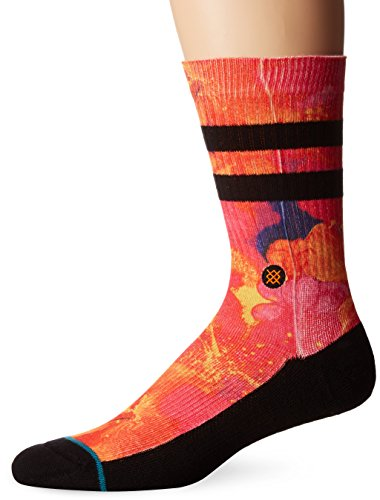 stance-mens-gutter-tropical-surf-print-arch-support-classic-crew-sock-orange-l