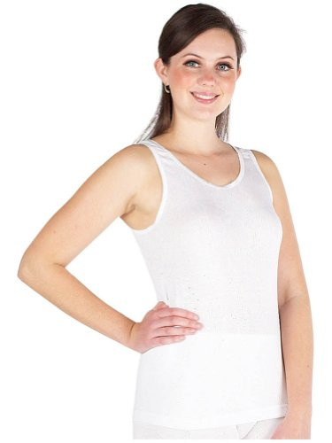 Multi Pack Of 6 Womens Thermal Underwear Long Back Sleeveless Vest White, Various Sizes
