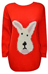 MyMixTrendz Ladies Soft Dog Face Knitted Winter Jumper W/Long Sleeves Sizes UK S-XL