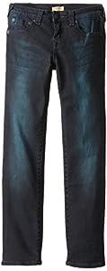 True Religion Big Boys' Ricky Straight Fit Black with Blue Stretch 5-Pocket Jean, Blue/Black, 10
