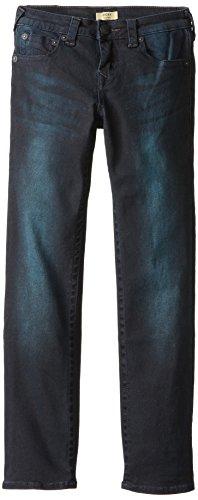 True Religion Big Boys' Ricky Straight Fit Black With Blue Stretch 5-Pocket Jean, Blue/Black, 18 front-993716