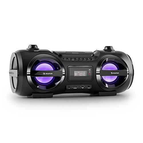 Auna Soundblaster Stereo Boombox Bluetooth 3.0 Impianto Stereo Portatile (Lettore CD, MP3, USB, Max 50W, 7 Colori LED)