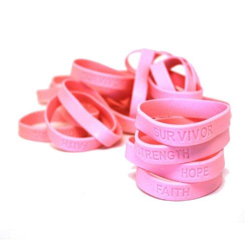 Pink Breast Cancer Awareness Bracelets (24)