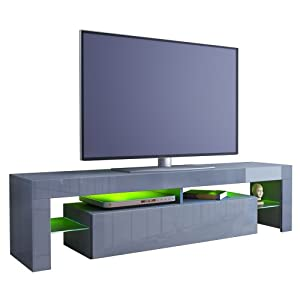 The Best  TV Stand Unit Lima in Grey / Grey High Gloss