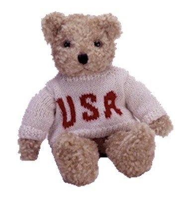 1 X TY Classic Plush - BABY CURLY the Bear (small - USA Sweater) - 1