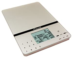 Escali 115NS Portable Nutritional Tracker Digital Scale 11 Lb /5 Kg, Silver Grey