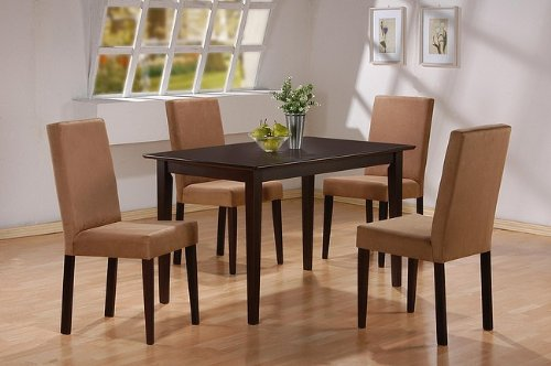 5pc Cappuccino Finish Dining Table & 4 Microfiber