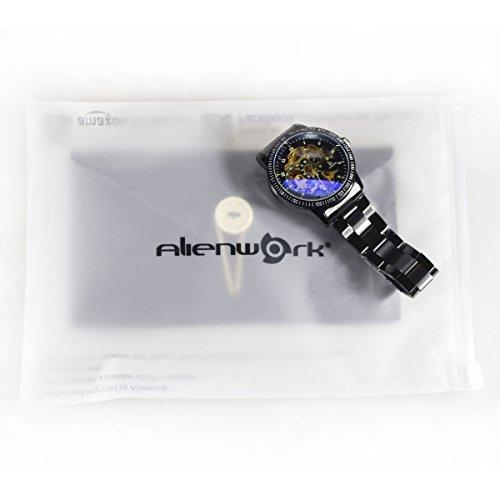 Alienwork IK mechanische Automatik Armbanduhr Skelett schwarz 98226-12 7