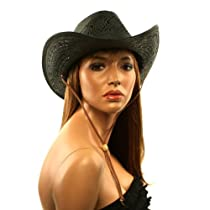 Ladies Summer Shapeable Western Cowboy Cowgirl Vented Draw String Cap Hat Black