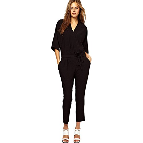 Minetom Pagliaccetto da donna Elegante Festa V-collo Legato maniche corte Jumpsuit Playsuit ( Nero EU XL )