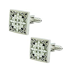 Motif Black and Grey Square Brass Cufflink