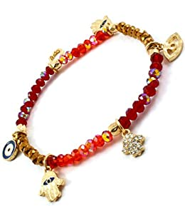 Accessory Accomplice Goldtone Hamsa & Evil Eye Charm Red Bead Stretch Bracelet