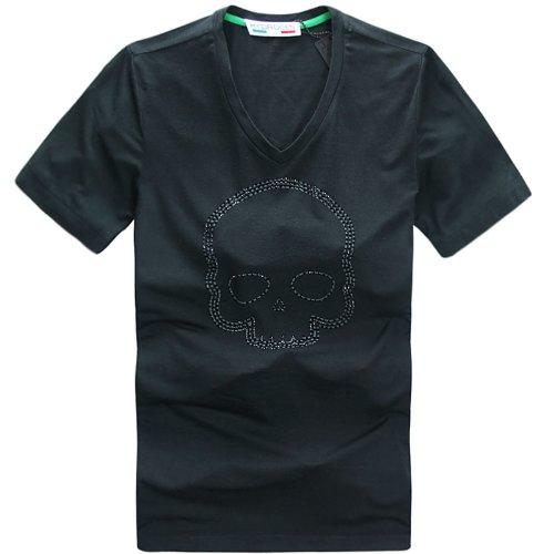 【ハイドロゲン】 HYDROGEN 夏 人気 メンズ 半袖 Tシャツ  Vネック スカル カジュアル メンズTシャツ7542 ロットナンバー:186328798 (L, Black)