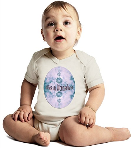 Alice In Wonderland Clock Collage Amazing Quality Baby Bodysuit by True Fans Apparel - Made From 100% Organic Cotton- Super Soft V-Neck Style - Unisex Design- Perfect As A Present 6-12 months