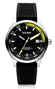 Golana Aqua Three Hands Men's Quartz Watch with Multicolour Dial Analogue Display and Black Rubber Strap AQ400-1