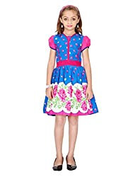 Be 13 Leaf Print Blue Cotton Girl's Frock