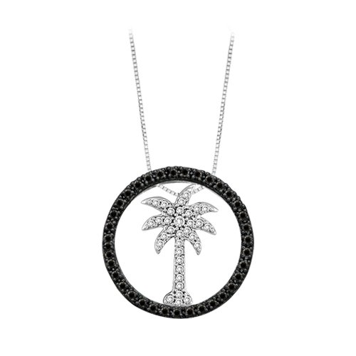 Black Diamond Palm Tree Pendant in 10K White Gold