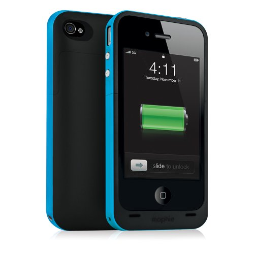 Mophie 1161_JPPLP4 Juice Pack Plus Case and Rechargable Battery Compatible with Verizon and AT&T iPhone 4 (Cyan)