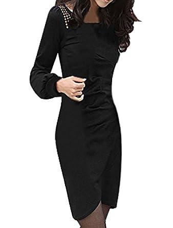 Women Tight Cuffs Ruffled Front Pullover Long Sleeve Dress