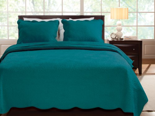 Greenland Home Serenity Quilt Set, Twin, Teal (Twin Teal Quilt compare prices)