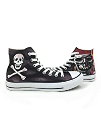 Men's Converse All Star Custom Skull Pirates Hand Painted high Top Canvas Shoes