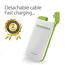 Avantree Juna 3400mA External Power Bank with Detachable Micro USB for Android Phone - Battery - Retail Packaging - White and green