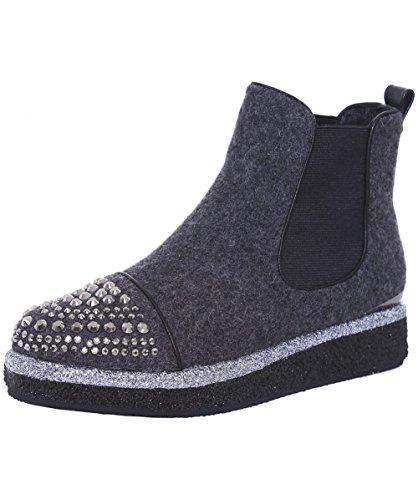 Alma en Pena Da Donna Franella Chelsea Boots 36 Grigio