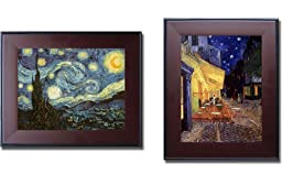 Starry Night Collection by Vincent Van Gogh 2-pc Mahogany-Framed Canvas Set (Ready-to-Hang)