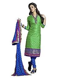 Green colour embroidered cotton silk fabric semi stich churidar dress material