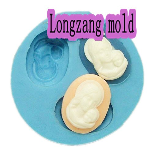 Longzang Small Mum And Baby F0013 Fondant Mold Silicone Sugar Mold Craft Molds Diy Gumpaste Flowers Cake Decorating