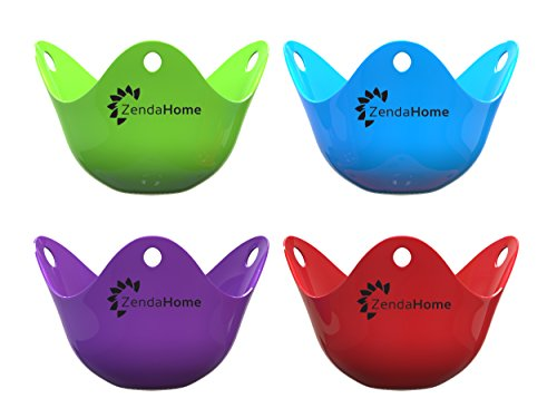 Silicone Egg Poacher Cups - Set of 4 BPA Free Poaching Pods for Cooking Perfect Poached Eggs - Microwave or Stovetop Egg Cooker (Metal Egg Poacher Cups compare prices)