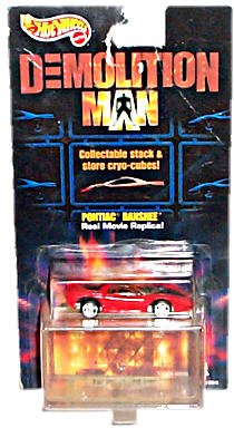 Hot Wheels - Demolition Man (Sci-Fi Action Film/Sylvester Stallone/Wesley Snipes) - Pontiac Banshee (Red) Car Replica w/Bonus Stackable Cryo-Cube Storage Unit and Respective Picture Puzzle Segment - 1