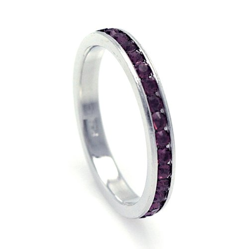2.5mm Sterling Silver Channel Set Cubic Zirconia February Birthstone Amethyst Simulant Eternity Ring Band (Sizes 3 to 9) - Size 4