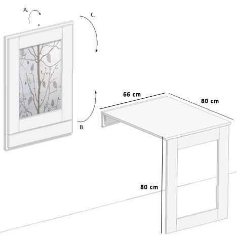 eleganter klapptisch karina wandtisch k chentisch esstisch 80x66cm wird zu einem. Black Bedroom Furniture Sets. Home Design Ideas