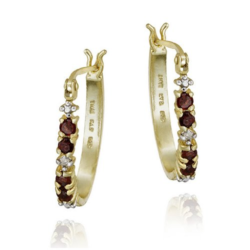 18k Gold over Silver Garnet & Diamond Accent Hoop Earrings