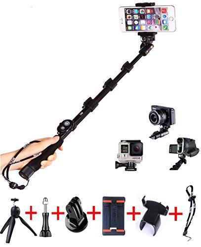 Mifine ゴープロ GoPro用 セルフィー棒 モノポッド  防水 自撮り棒 伸縮自在 ネジ式雲台 三脚付き