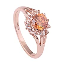 buy Acefeel Rose Gold Plated Sunflower Shape Crystal Topaz Shining Wedding Promise Engagement Ring R130