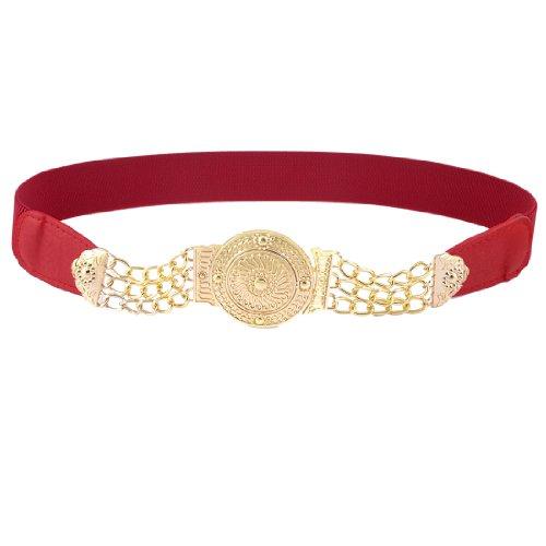 Ladies Flower Carved Round Interlocking Buckle Stretchy Waistband Chain Waist Belt