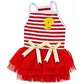 Pawzone Pet Puppy Small Dog Princess Dress Lace Bow Tutu Dress Skirt, Red-XL