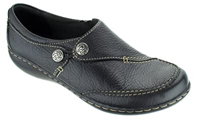 Clark's Women's Ashland Lane Tumbled Leather Slip-on Shoes Black 8 M