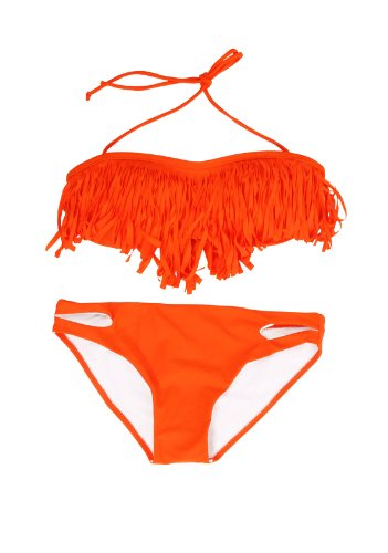 Sexy Strapless Bikini Top /W Tassel with Bottom Padded Bra Swimsuit Beachwear