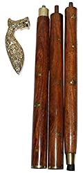 INDOART Walking Stick (CANE) khukri Head , 4PCS Folding , 36