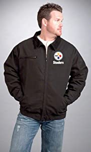 4X NFL Pittsburgh Steelers Tradesman Canvas Quilt Lined Jacket, Black, 4X from Dunbrooke Apparel