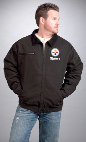 3X NFL Pittsburgh Steelers Tradesman Canvas Quilt Lined Jacket, Black, 3X-Large at SteelerMania