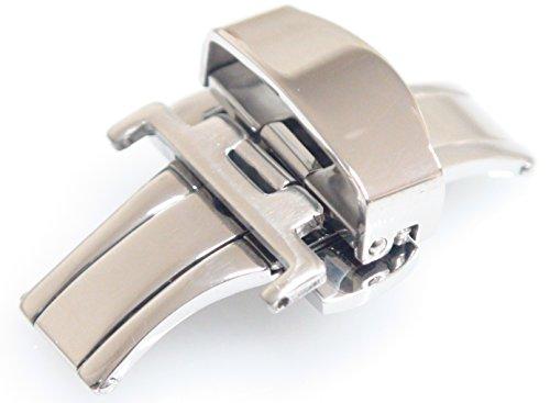 D 扣 (双 / 折叠插页仪式) 20 毫米 (银) 春天伸出和春天酒吧 20 毫米 1 / 带有蝴蝶扣 D 扣皮革手表皮带更换弹簧杆弹簧伸出和