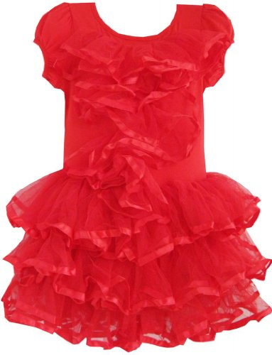 Sunny Fashion Little Girls' Dress Red Tulle Tutu Dancing Party Boutique